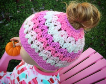 TWO COLOR - crocheted messy bun hat, sizes: toddler, child, teen/adult