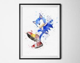 Sonic the Hedgehog Print Watercolor art poster printable Video Games Print Boy Baby Nursery Decor Sonic Gaming prints