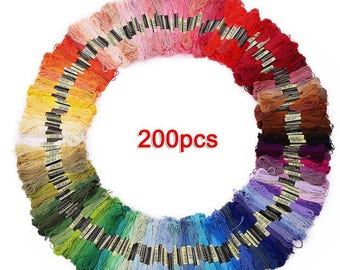 200 skeins of multicolored yarn for cross stitch embroidery Crocheting