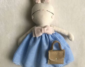Little bunny blue dress pink bow