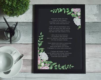 Wedding Poem Art Print Printable - Hold My Hand My Love by Ms Moem