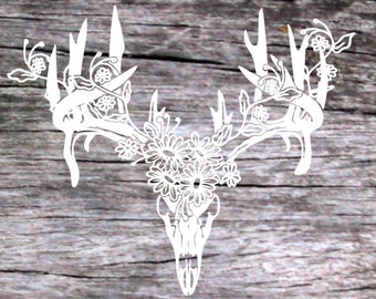 Boho deer skull with flowers, gypsy decal, jeep decal, truck decal, car decal, yeti cup decal, ozark trail cup decal,