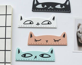 Wooden ruler, ruler cat eyes available in 4 colors listed here