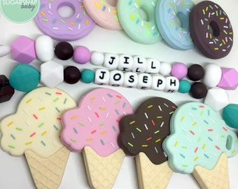 Ice Cream Cone and Donut Teethers for Baby & Toddlers - Personalized - teether with name - chew toy - baby gift - toddler toy - name on toy