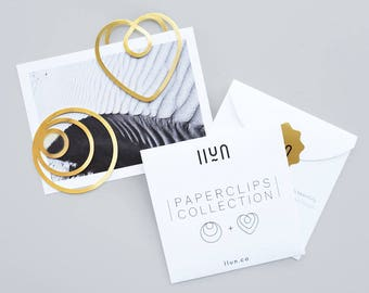 Brass Heart + Circle Paperclips / Bookmarks