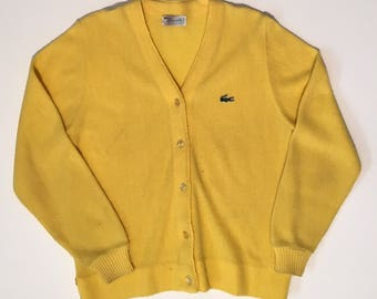 Vintage Lacoste Haymaker cardigan sweater yellow
