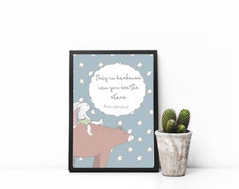Kids Prints Inspirational - Digital Download - Only In Darkness Can You See The Stars