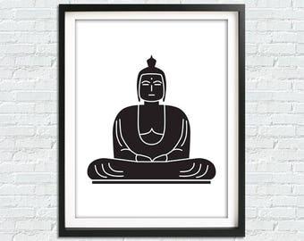 Buddha Print Buddha Art, Black And White Art, Yoga Art, Buddha Wall Art, Zen Wall Art, Black And White Prints, Yoga Poster, Buddha Paintings