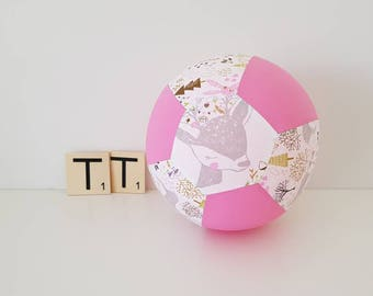 Fabric Balloon Cover - Oh My Deer - Balloon Cover - Fabric Bouncing Balloon Cover - Balloon - Ball - Pink and White Deer
