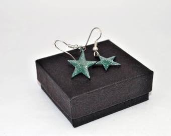 Dark green enamel star pendant earrings