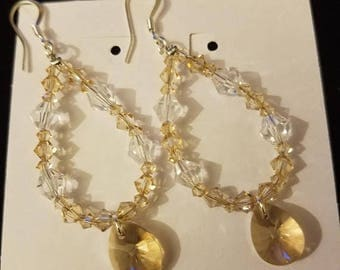 Champagne Swarovski Drop Earrings