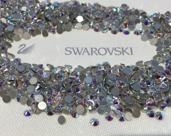 Genuine Swarovski Crystal Rhinestones flat back  - Crystal Clear AB Sealed Factory Pack SS30 TO SS48  Swarovski Rhinestones