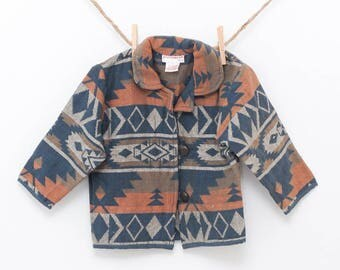children's navajo jacket | aztec pattern kids coat | spring fall light jacket | southwest indian jacket boy girl | cotton size large L