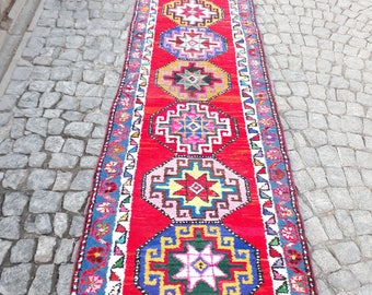 Rug Runner Vintage Turkish Oushak 160 X 35 Inches Pink Color Rug Distressed