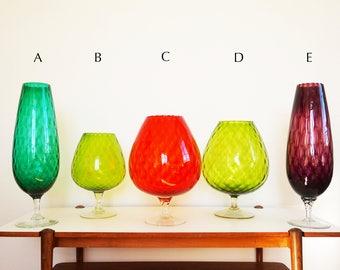 Large glass Italian Empoli vintage 1950s vases