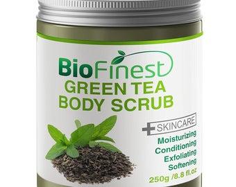 Biofinest Green Tea Scrub - with Dead Sea Salt, Coconut Oil, Jojoba Oil, Vitamin E, Essential Oils - Best Antioxidants For Anti-Aging (250g)
