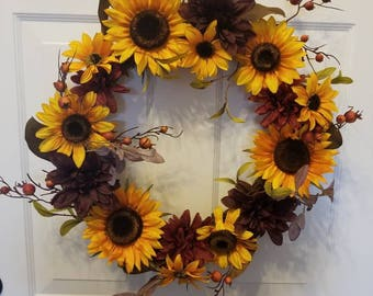 Sunflower wreath/ fall wreath/ Autumn wreath/ front door wreath/ housewarming wreath/door wreath/fall front door wreath