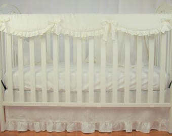 bumperless crib bedding set natural washed linen in ivory 3 pc baby bedding
