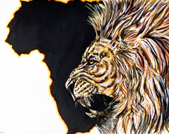 lion king of the Savannah illustration