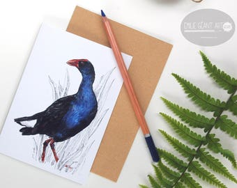 Pukeko folded card from the New Zealand native birds series by Emilie Geant, from original watercolor painting