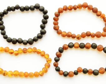 100% Baltic Amber baby/Adult Teething Bracelet Anklet 11-20cm Raw elastic baroque style unpolished beads Baby Girl Boy Gift Choose Color
