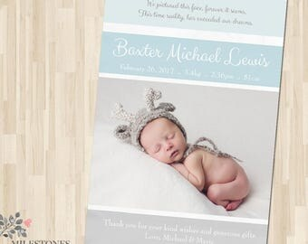 BIRTH ANNOUNCEMENT   Baby Announcement   Photo Birth Announcement   Baby Boy Announcement   Baby Photo Card   Newborn Photo Card   Digital