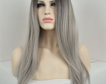 Sassy Silver - Grey Ombre root smudge/shadow - Heat resistant synthetic long layered wig - Can be customised