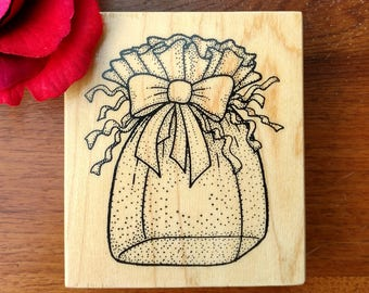 Gift Bag Rubber Stamp by Darcie's, N1851, Present, Bow, Cello Bag with Ribbon