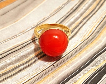 Carnelian Red Ring in 925 Sterling Silver plated in 14k Gold in Size 5, Size 8, Size 11 and Adjustable