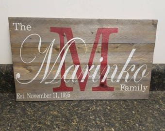 Wedding Gift , Personalized Sign,   Last Name Sign, Custom Name Sign, Established Date Sign, Family Name Sign