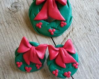 Ugly Christmas Jewelry Set-Vintage Ugly Christmas Brooch-Ugly Christmas Earrings-Vintage Christmas Jewelry-Ugly Christmas Sweater Jewelry