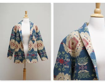 Vintage Aztec Jacket ⎮ 80s Tapestry Jacket ⎮ Southwestern Tribal Native Blanket Jacket