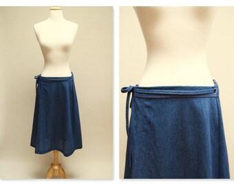 70s A Line Wrap Skirt ⎮ Vintage Blue Midi Skirt ⎮ 1970s Boho Skirt XL