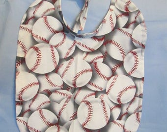 Baseball Reversible 100% Cotton Baby Bib