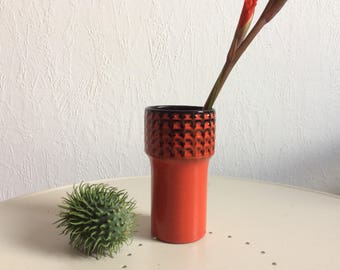 Vintage german 70s red ceramic vase