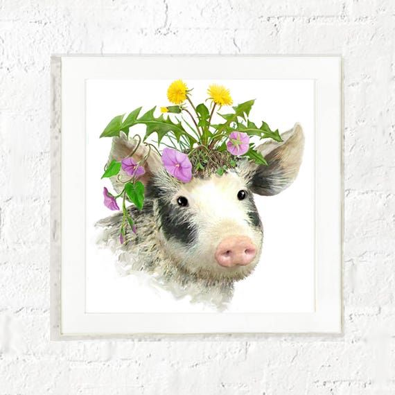 Piglet with flowers print, kid's farm animal wall art, baby pig, nursery wall art, baby animal art, kids wall art, art for kids walls,piglet