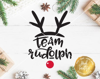 Team Rudolph SVG DXF Cut File, Christmas SVG Dxf Cutting File, Rudolph Clipart Vector, Rudolph Svg Decal Cuttable File, Holiday Svg Dxf