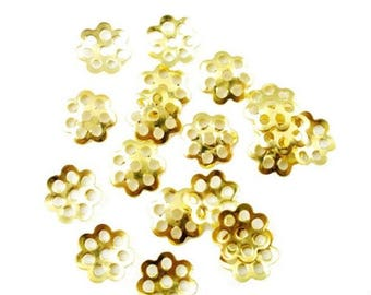100 bead caps beads caps flower Gold 8 mm