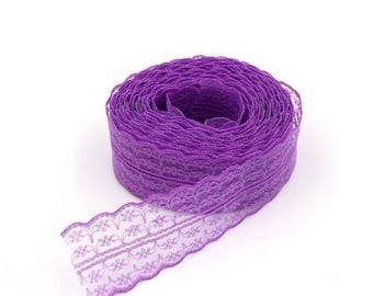 1 45 mm purple embroidered tulle lace trim Ribbon