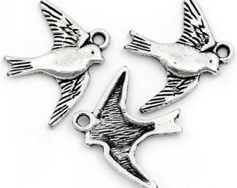 10 Animal Hirondelle 23 mm x 18 mm antique silver charm