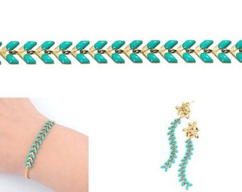 Chain spike chevron gold and green Turquoise 0.50 cm