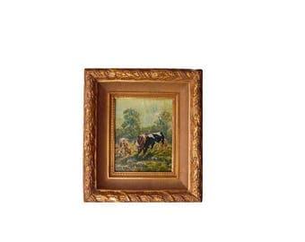 Vintage Cow Painting - Original Artwork in Gold Frame