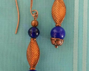 Copper and Cobalt Earrings