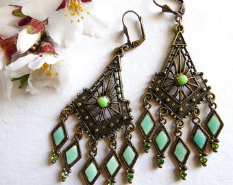 Earrings green water Sherehazade