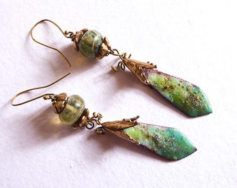 Seagreen earrings and golden drops