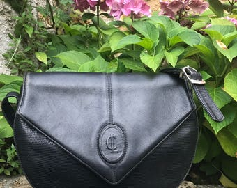 Claude Gérard handbag french vintage retro black leather Messenger french made in france