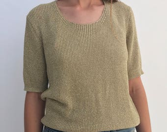 Vintage Disco Gold Knit Tee | Gold Suzelle Poly Tee Top | Scoop Neck Rayon Blend Tee Sweater | Gold Mesh Vintage Shirt