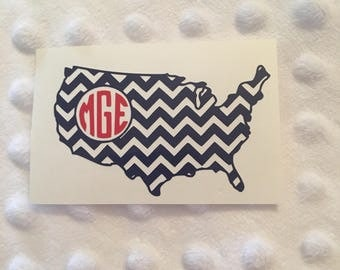 United States of America Chevron Monogram Decal - Laptop Decal - USA Decal - United States Decal - Water Bottle Decal - Car Decal - Sticker