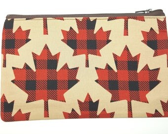 Canadian Maple Leaf Fabric Pouch // Canada Pencil Case