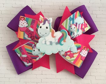 Unicorn bow, rainbow bow, unicorn hair clip, unicorns, unicorn birthday, toddler bows, girl bows, rainbow hair clip, cupcake bow